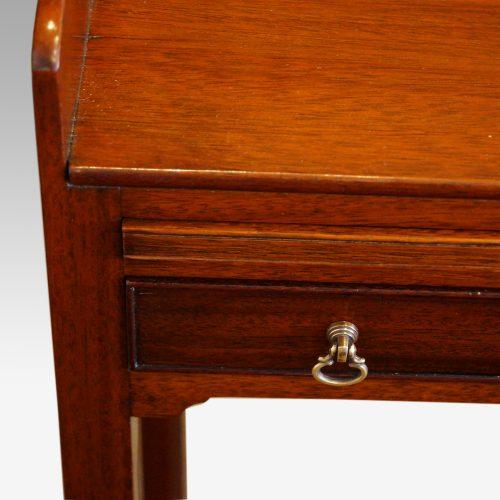 Pair of mahogany tray top bedside tables detail