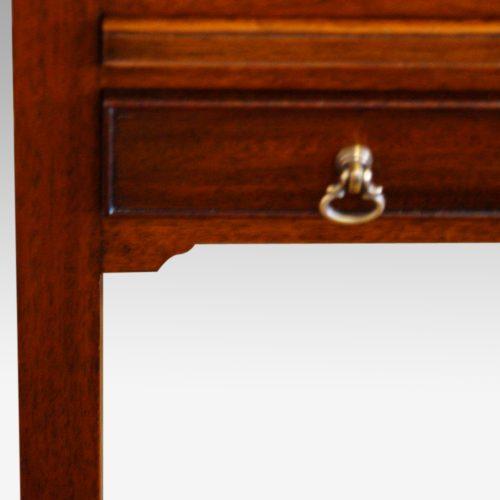 Pair of mahogany tray top bedside tables handle