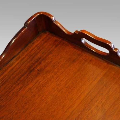 Pair of mahogany tray top bedside tables handle grip