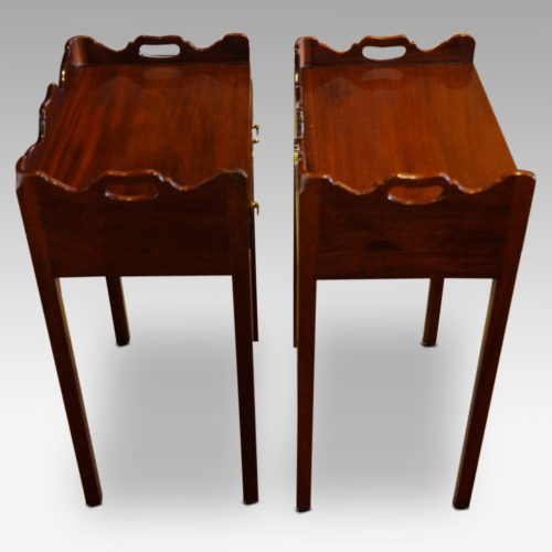 Pair of mahogany tray top bedside tables side view