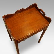 Pair of mahogany tray top bedside tables top