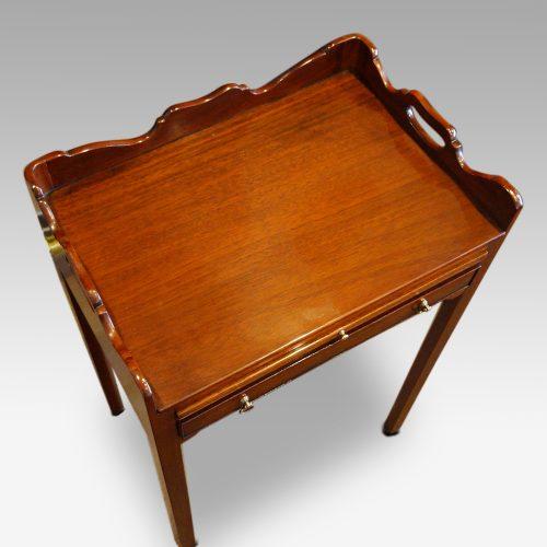 Pair of mahogany tray top bedside tables top