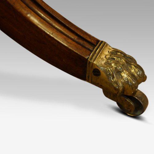 Regency mahogany work table brass claw toe