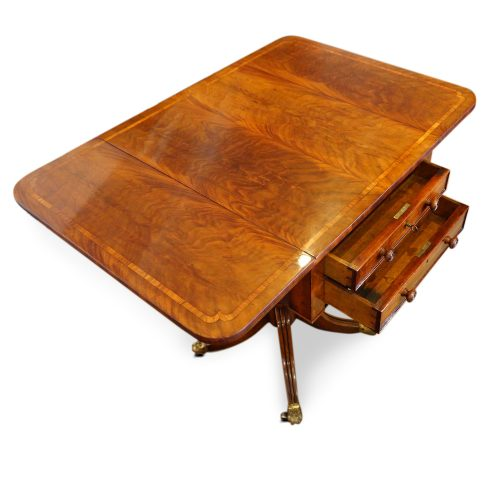 Regency mahogany work table drawers open