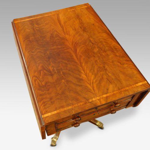 Regency mahogany work table flaps down