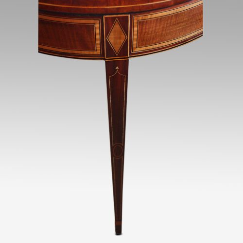Sheraton inlaid mahogany card table leg