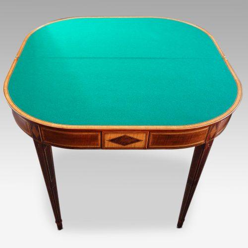 Sheraton inlaid mahogany card table open