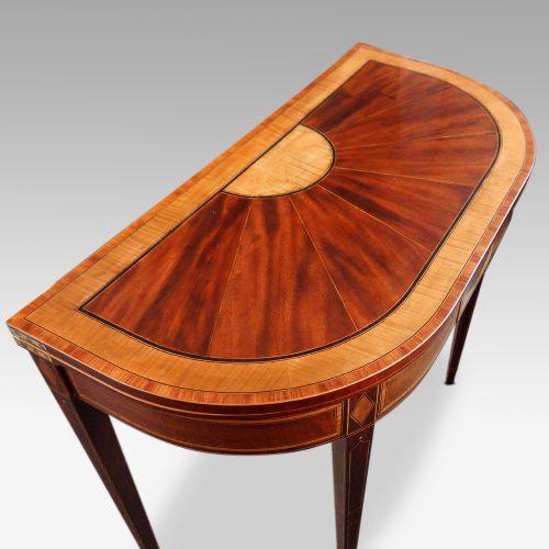 Sheraton inlaid mahogany card table top