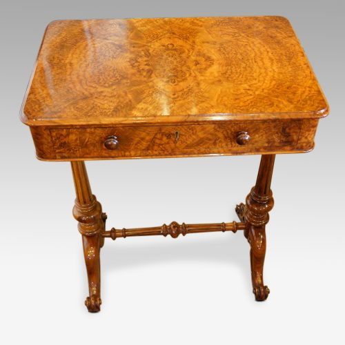 Victorian burr walnut side table front