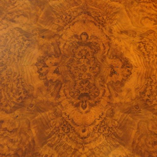 Victorian burr walnut side table top detail