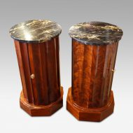 Victorian matched pair of circular bedside cabinets view