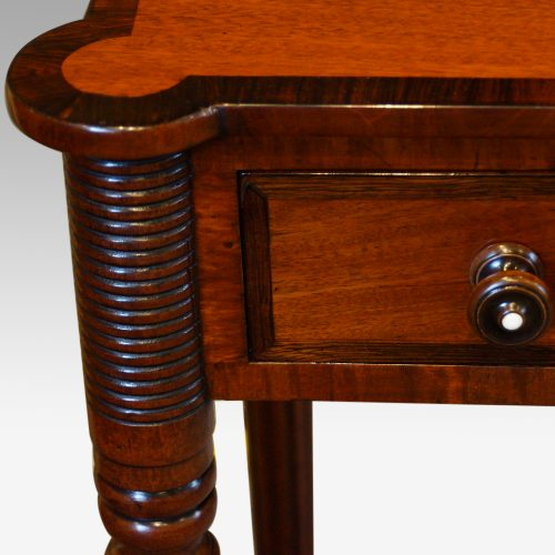 William IV mahogany side table turret detail