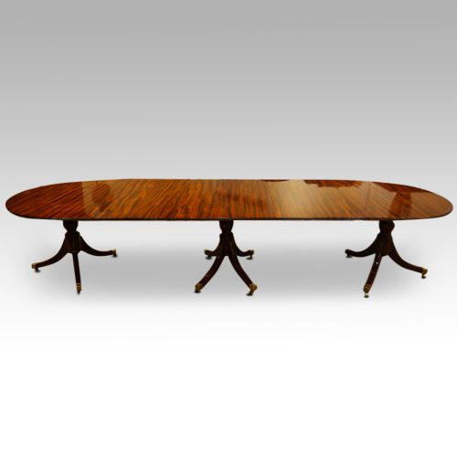 12 plus seat Regency style mahogany 3 pillar dining table,1