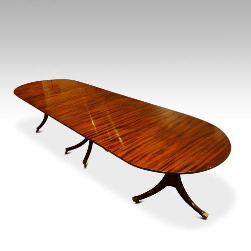 12 plus seat Regency style mahogany 3 pillar dining table,5