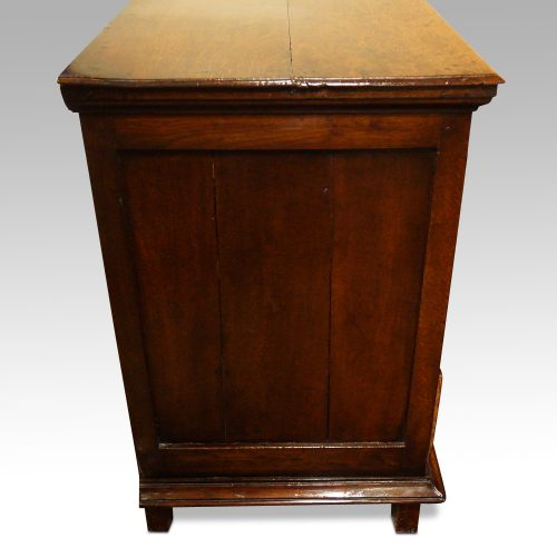 18thc. walnut on oak chest of drawers end