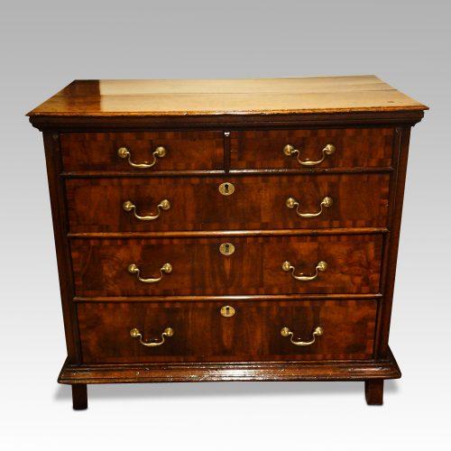 18thc. walnut on oak chest of drawers