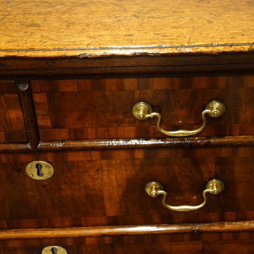 18thc. walnut on oak chest of drawers front detail