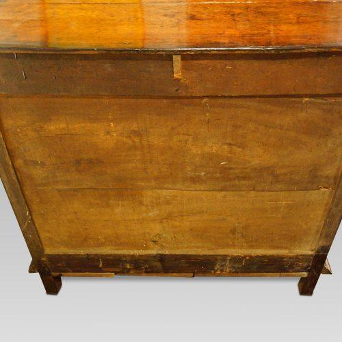 18thc. walnut on oak chest of drawers rear