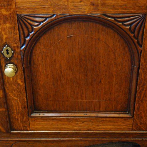 Antique oak Anglesey dresser base door detail