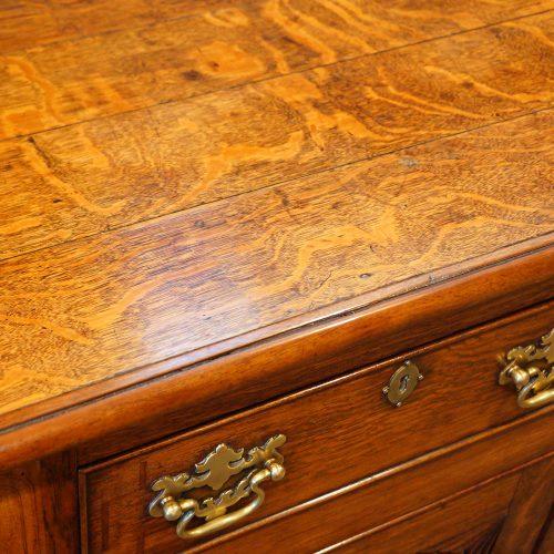 Antique oak Anglesey dresser base top detail