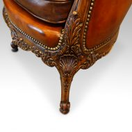 Edwardian walnut love seatleg detail
