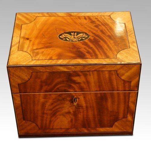 George III mahoangy inlaid casket