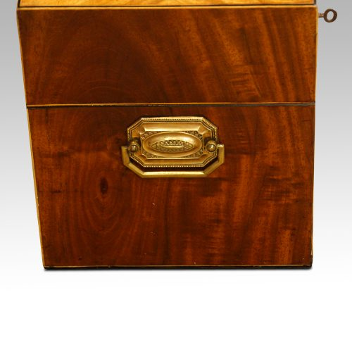 George III mahoangy inlaid casket end