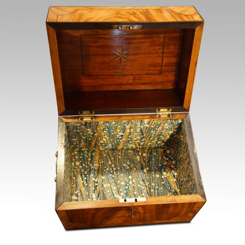 George III mahoangy inlaid casket interior