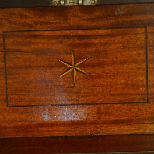 George III mahoangy inlaid casket interior of lid