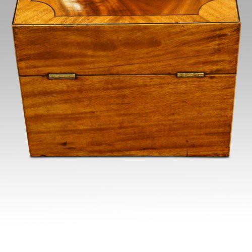 George III mahoangy inlaid casket rear