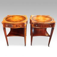 Pair inlaid mahogany end tables