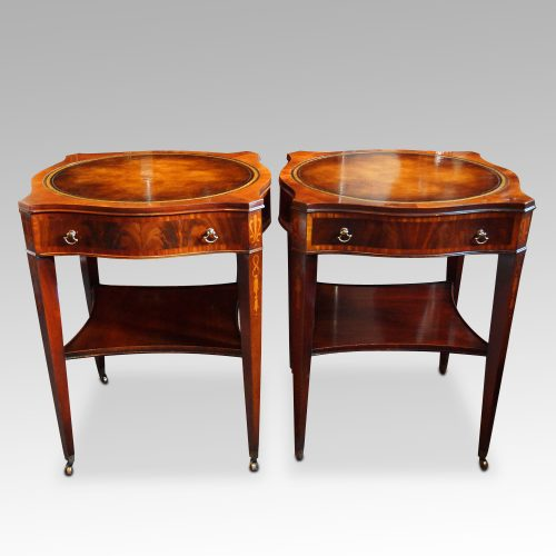 Pair inlaid mahogany end tables front detail