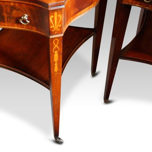 Pair inlaid mahogany end tables leg detail