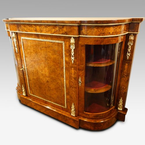 Victorian inlaid walnut credenza at angle
