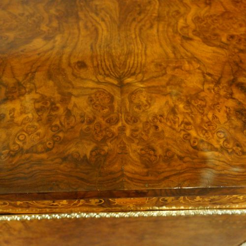 Victorian inlaid walnut credenza burr top