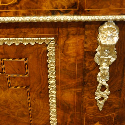 Victorian inlaid walnut credenza door corner