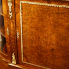 Victorian inlaid walnut credenza door detail
