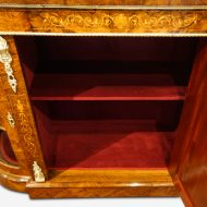 Victorian inlaid walnut credenza interior
