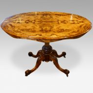 Victorian inlaid walnut oval centre table