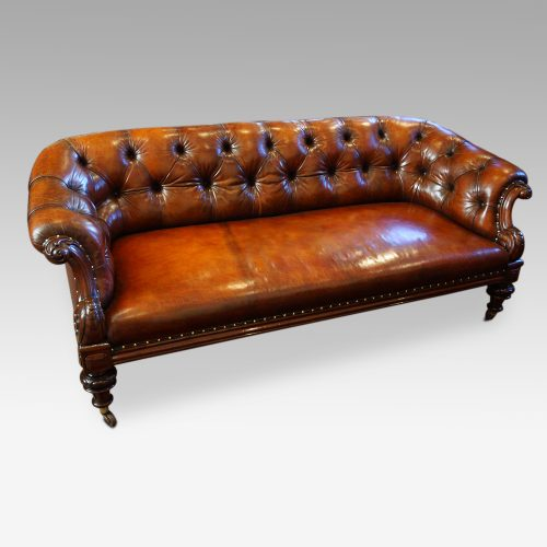 Victorian leather chesterfield angle view