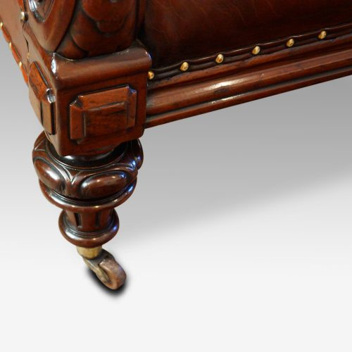 Victorian leather chesterfield front leg