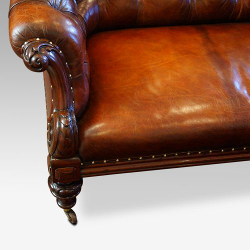Victorian leather chesterfield mahogany arm