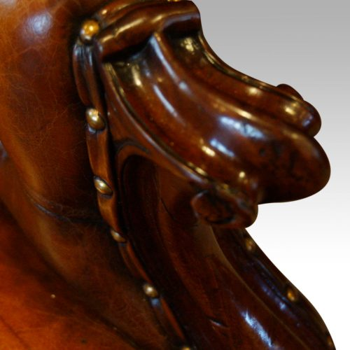 Victorian Button Back Leather Reading Chair Hingstons