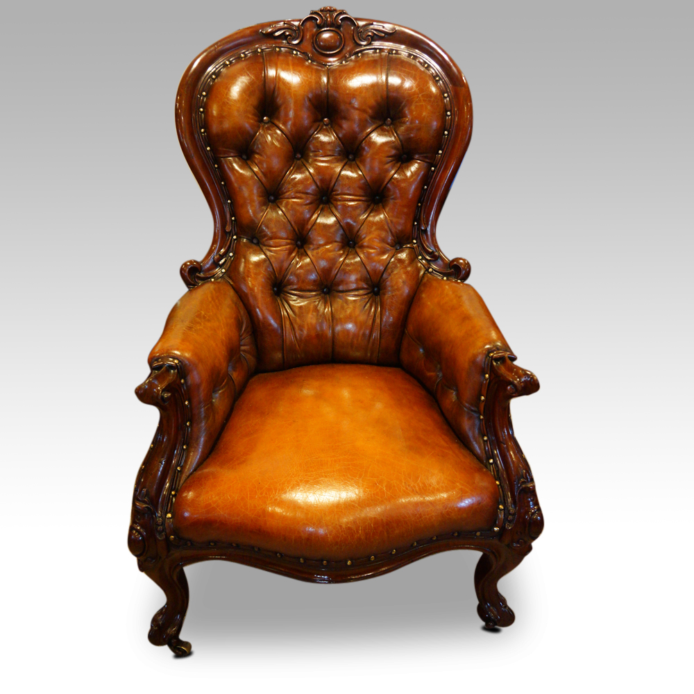 - Victorian Button Back Leather Reading Chair Hingstons Antiques Dealers