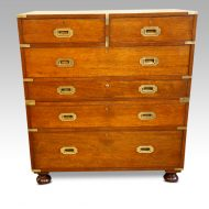 Victorian teak secretaire military chest