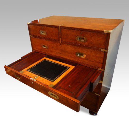 Victorian teak secretaire military chest desk open