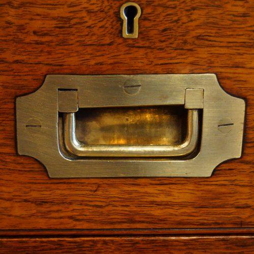 Victorian teak secretaire military chest flush handle