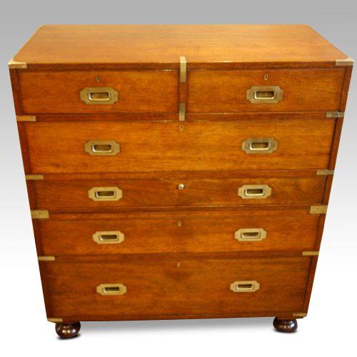Victorian teak secretaire military chest