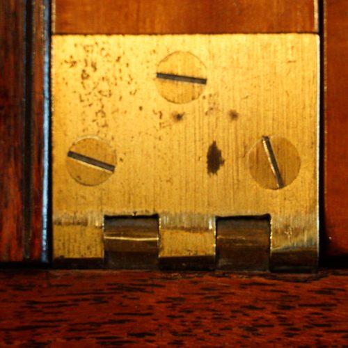 Victorian teak secretaire military chest hinge