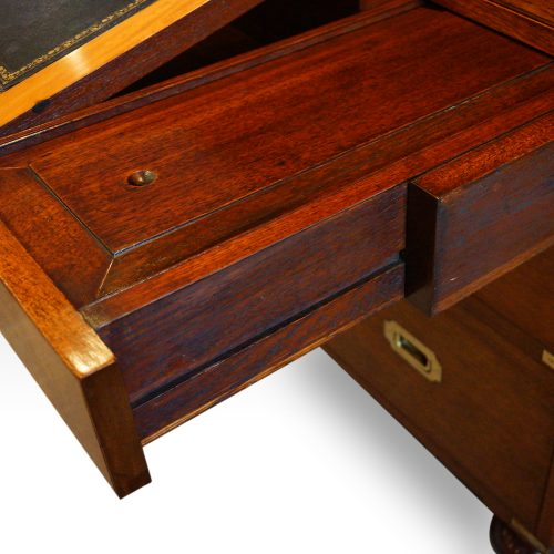 Victorian teak secretaire military chest mechanism
